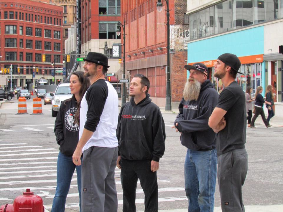 Mobsteel Crew checking out the Mobsteel Detroit People Mover Wrap from Street Level