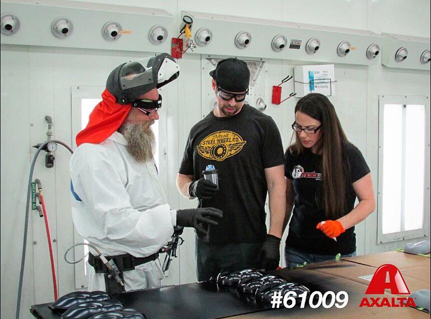 Pam, Adam and Ron mixing up shades for the Mobsteel Signature series paint line by Axalta