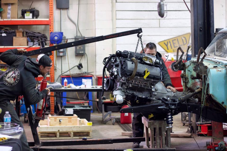 Doug and Steve Installing new Ford Performance Engine (Coyote)
