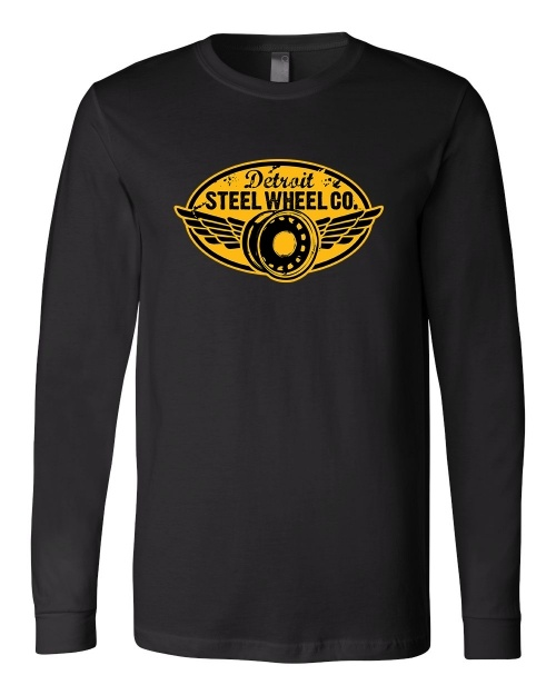 "58623bbe ""Detroit Steel Wheel"" LONG sleeve black crew"